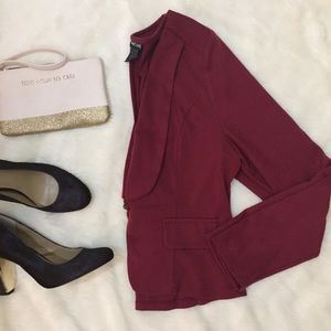 Wet Seal Cranberry Red Ponte Knit Blazer Bow Back